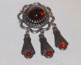 Sterling Silver Amber Brooch Lovely Ornate Vintage Dangle Pin