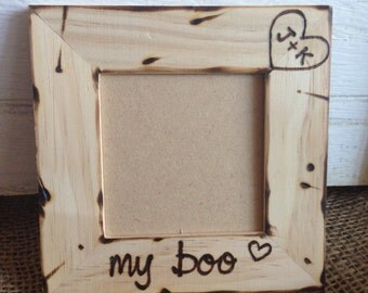 My Boo personalized wood picture frame with carved initials Valentine's Day Birthday Anniversary Wedding Engagement boyfriend girlfriend