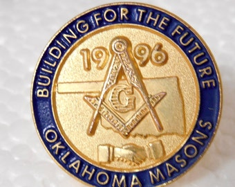 1996 Oklahoma Masons Lapel Pin/Hat Pin, Masonic Lapel Pin, Oklahoma, 1996, Lapel Pins, Hat Pins, Oklahoma 1996 Freemanson Pin, Masonic Items