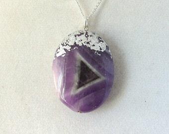 Silver Leaf Stone Pendant - Amethyst