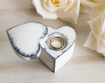 White Ring Bearer Box Heart Shaped Ring Box Wedding Ring Box Rustic Ring Box Engagement Ring Box Personalized Ring Box Pillow Alternative