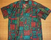 Mens Vintage 60s Malihini Tribal Tiki MOD Hawaii Hawaiian Shirt - L - The Hana Shirt Co
