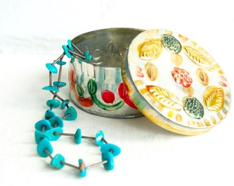 Punched Tin Jewelry Box Vintage Mexican Round Trinket Container Hand Colored Folk Art