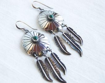Malachite Feather Earrings Vintage Sterling Silver Dangles Southwestern Native American Concho Dangle Earring
