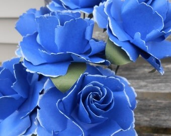 Royal Blue Wild Roses, Half Dozen. Other Colors Available. Centerpiece, Wedding, Paper Flower Bouquet