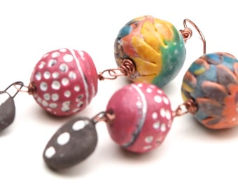 Boho Colorful Copper & Handmade Clay Tribal Earrings