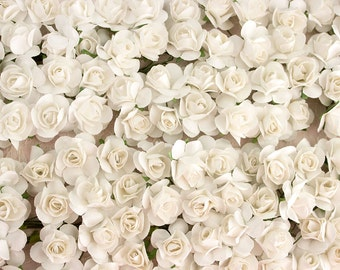 120 Paper Roses / .75 Inches 20 MM / Soft White / 3/4 Inches / 120 Artificial Flowers / Bridal / Wedding Favors
