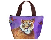 Lioness Lunch Bag Tote with Matching detachable Charm - From My Painting-  Salvador Kitti