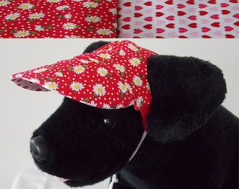 Dog visor, reversible (two fabrics), comfortable and colorful. V9   Can be personalized.