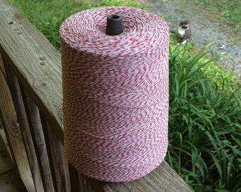 3,400 Yards - Red + White 4-Ply  Baker's  Twine / String • 100% Cotton • Eco Friendly • Bakery Twine  • Bakery String  • Inexpensive