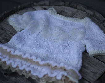 18-24m White tunic with lace, Knitted Baby girl tunic, Knitted dress with Lace