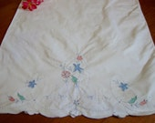 White Embroidered Pillowcase Vintage Floral Pillow Case Single Pastel Flowers