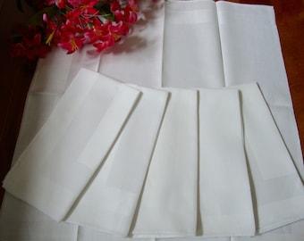White Linen Napkins Set of Six Vintage Dinner Napkins
