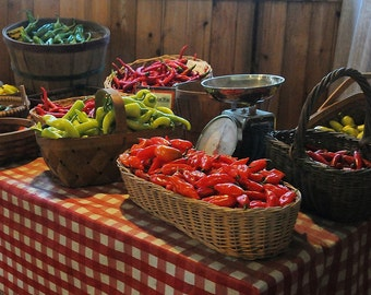 Farmer's Market Photo, Autumn Harvest, Produce Stand, Vintage Scale, Farmer's Tables,  Kitchen Decor, Home Decor, Country Living, Peppers