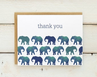 Elephant Thank You Cards, Elephant Thank You Stationery, Elephant Baby Shower Thank Yous, Watercolor Thank You Card Set, Set of 10