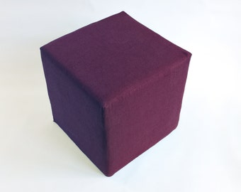Pouf Ottoman/ Minimalistic /Marsala/Wine/Modern Floor Pouf /Additinal Sturdy Seating/ Unique Side table/ Foot Stool /Zigzag Studio Design