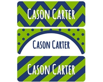 Name Labels, School Name Labels, Daycare Name Labels, Baby Bottle Labels, Boy, Waterproof, Name Label, Chevron, Stripes, Navy Blue, Green