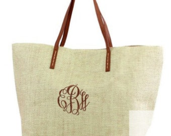 Personalized Burlap Jute Tote Bag