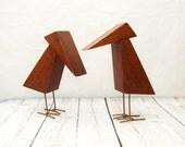 Abstract Bird Statues, Vintage Handmade Bird Statues, Wooden Bird Statues, Vintage Wooden Birds, Pair of Bird Statues,