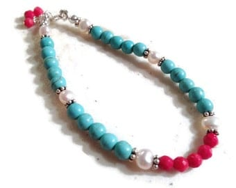 Turquoise Bracelet - Red White Jewelry - Sterling Silver Jewellery - Pearl & Coral Gemstone - Beaded - Dainty - Layer