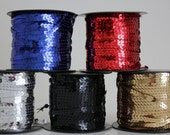 """Sequin Trim - 6 mm - 1/4"""" in 5 Colors - 5 Yard Length"""