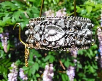 Large Victorian Filigree Cuff Bracelet
