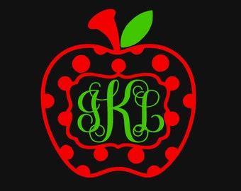 Apple with Dots Monogram Teacher Yeti Vinyl Decal