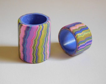 Set of 2 Dread Beads, large 16 mm bead hole polymer clay beads