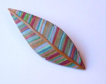 Feather Brooch, polymer clay jewelry, colorful feather pin
