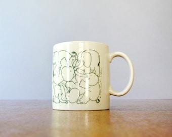 Vintage Taylor & Ng Naughty Elephant Mug / Cup - Green Animates