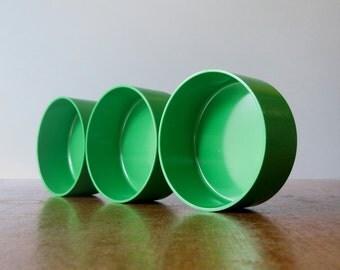 Vintage Heller Vignelli Bowls Mod Green Plastic