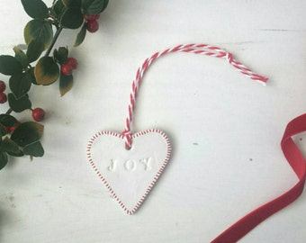 Handmade Heart 'Joy' clay Christmas Tree Decoration/Gift Tag. Red handstamped