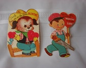 Two cute Vintage Valentines Day Cards Perforated Edges Unused with Flock and Glitter Handyman/Cowboy Puppy 1960-70's