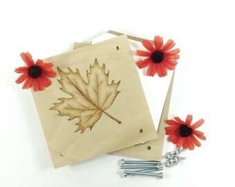 Flower Press - Wood Pyrography - Maple Leaf Plant Press