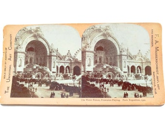 Stereoview Card Paris Exposition The Water Palace Fountains Playing 1900 Photo of PARIS France Expo The Universal Art Co Messerschmidt