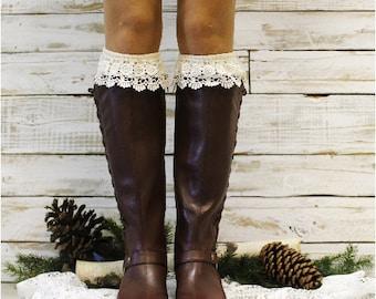 Tall lace boot socks, socks for boots, Ivory boot socks,  womens, leggings, leg warmers, knee socks, ruffle socks, winter, fall | BKS7