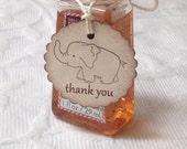 Set Of 12 Mini Scallop Elephant Tags - Nail Polish Tag - Baby Shower Favor Tag