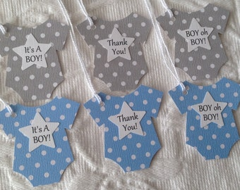 Baby Thank You Star Tags -  It's A Boy Bodysuit Tag - Boy Oh Boy - Baby Shower Favor Gift Tags - Set of 12