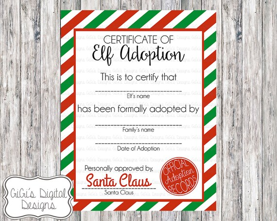 ELF ADOPTION CERTIFICATE, Christmas Shelf Elf, Adopt an Elf letter ...