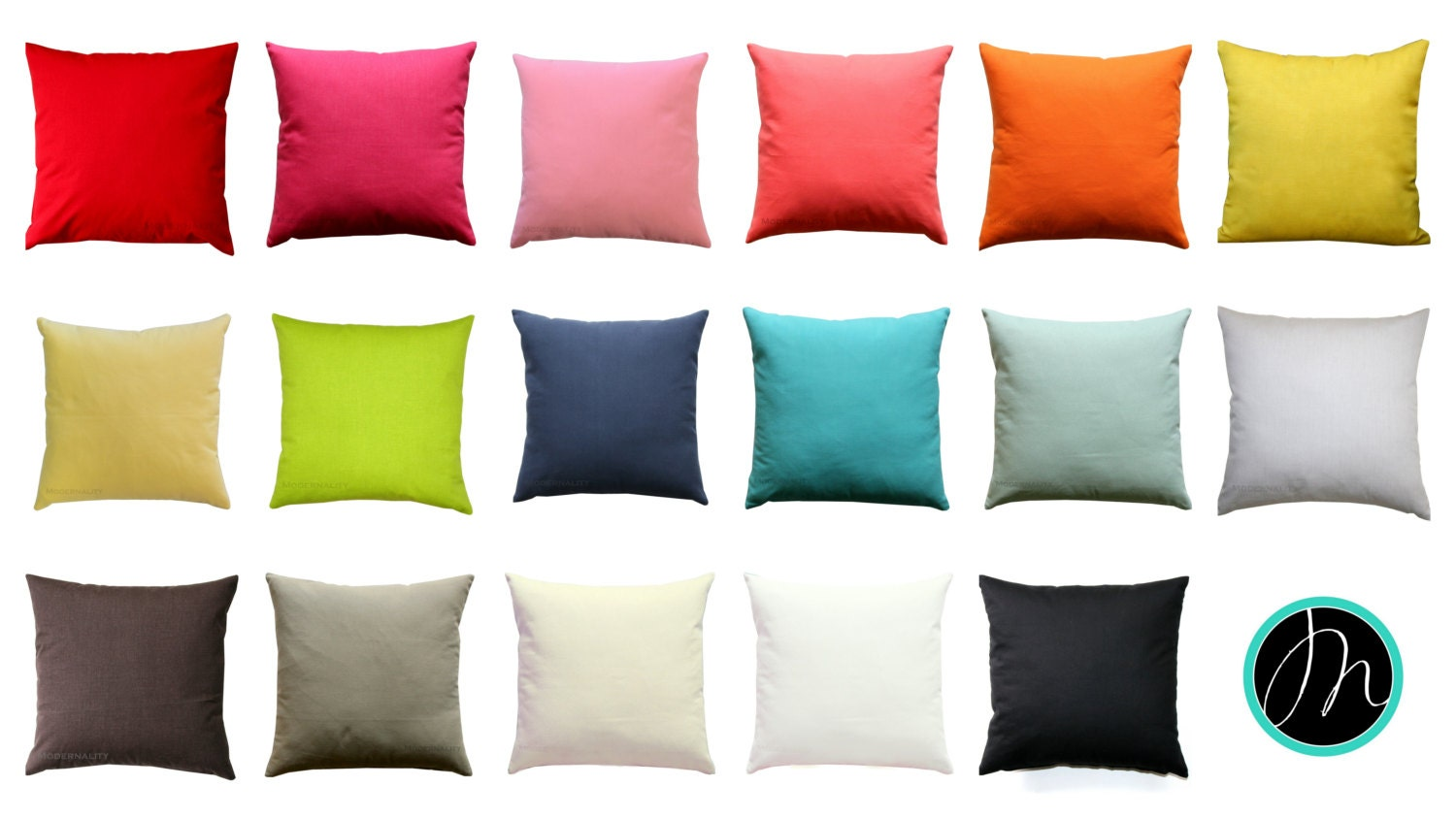 Solid Throw Pillow Multiple Colors Vibrant Pillow Cover