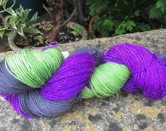 "100grms hand painted fingering weight yarn merino /nylon /"" wicked """