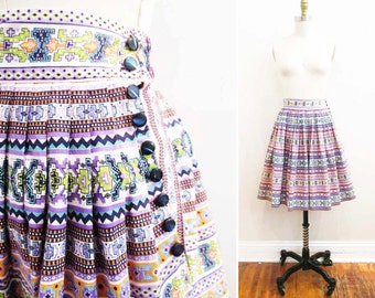 Vintage 1950s Skirt   Colorful Southwest Novelty Print 1950s Full Skirt   size xs - small