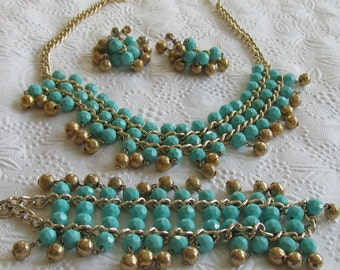 Vintage Plastic Teal Beaded Necklace/Bracelet and Earrings with Gold Beads~ Parure Set