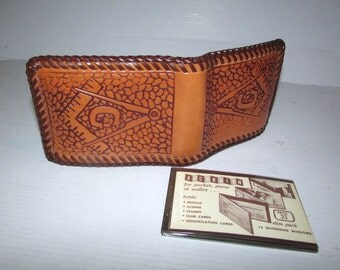 Vintage Tooled Leather Masonic Bi-Fold Wallet, Mid Century, Hand Made Billfold with Laced Edging
