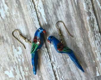 Retro Carved Wood Parrot Earrings