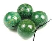 Luscious Green African Jade Large Round Beads - 16 mm - 4 beads - B4901