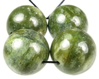 Unique Jade-Like Opaque Bowenite Noble Serpentine Large Round Bead - 16mm - 4 Pieces - B4701