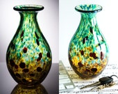 Hand Blown Glass Vase - Green and Amber with Ruby Dots