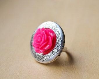 Fuchsia Rose Customized Photo Silver Locket Ring