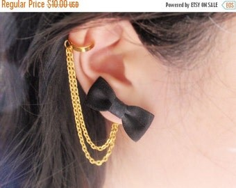 VALENTINES DAY SALE Black Bow Gold Double Chain Ear Cuff (Pair)